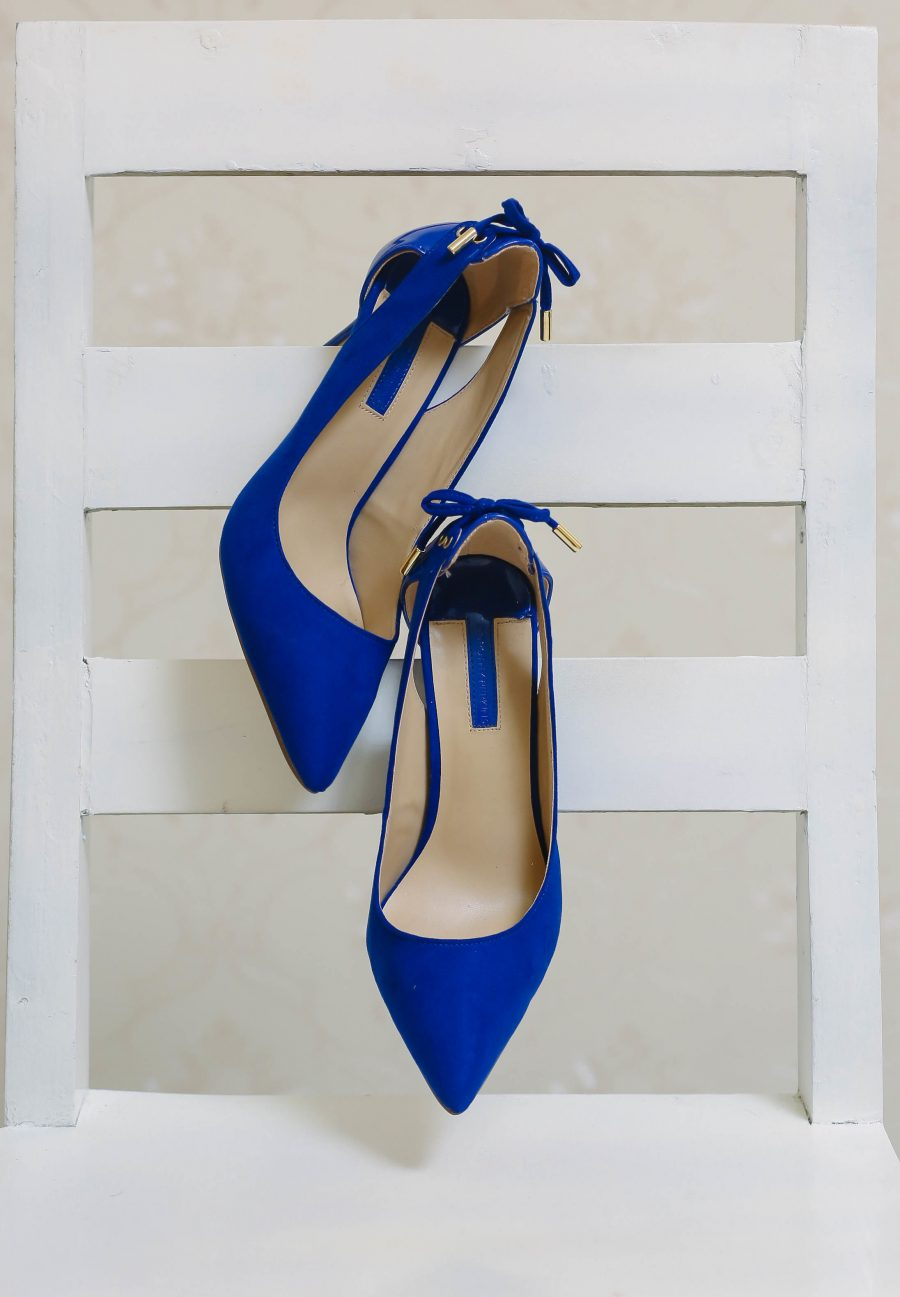 Blue Bow Back Court Heels 2
