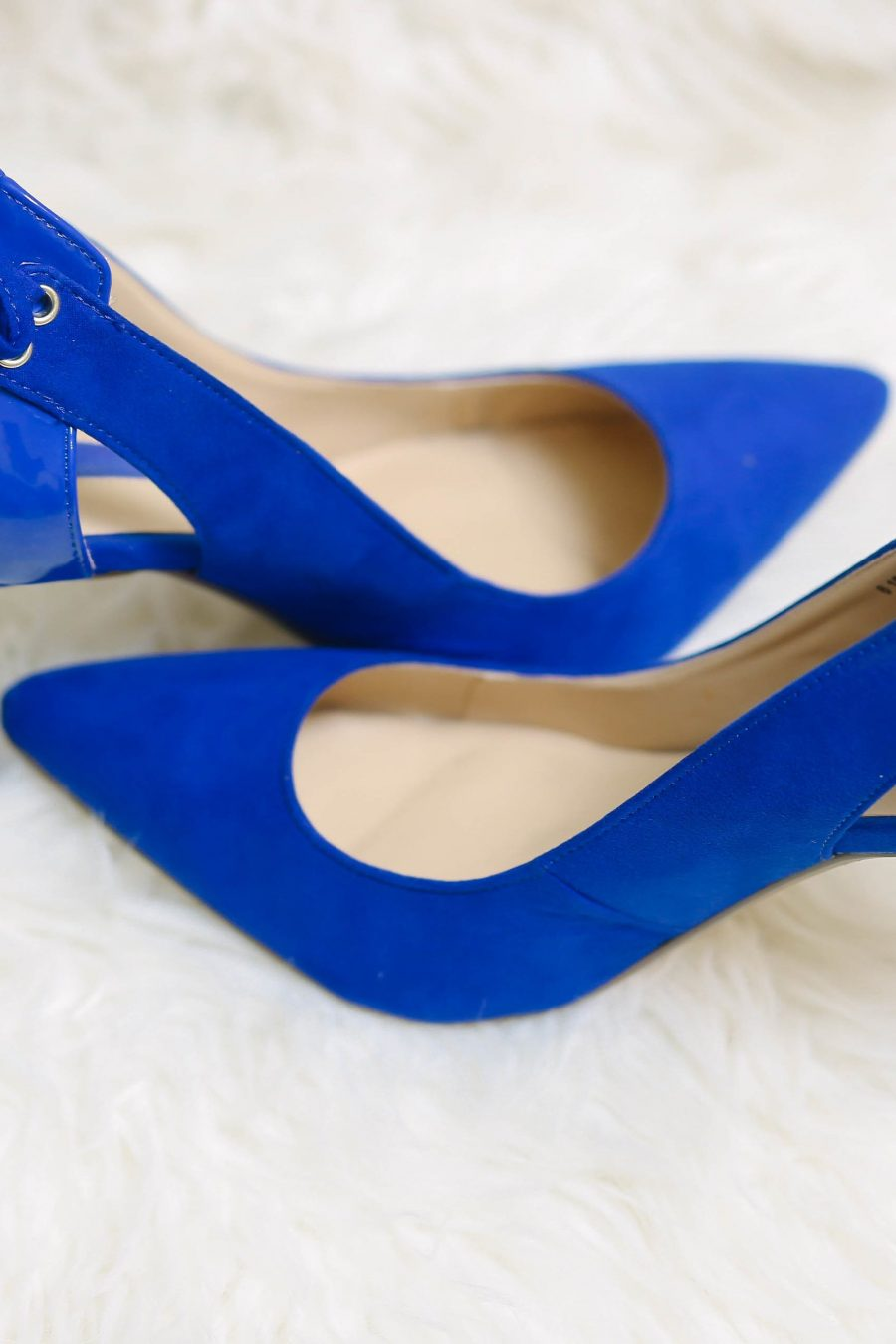 Blue Bow Back Court Heels