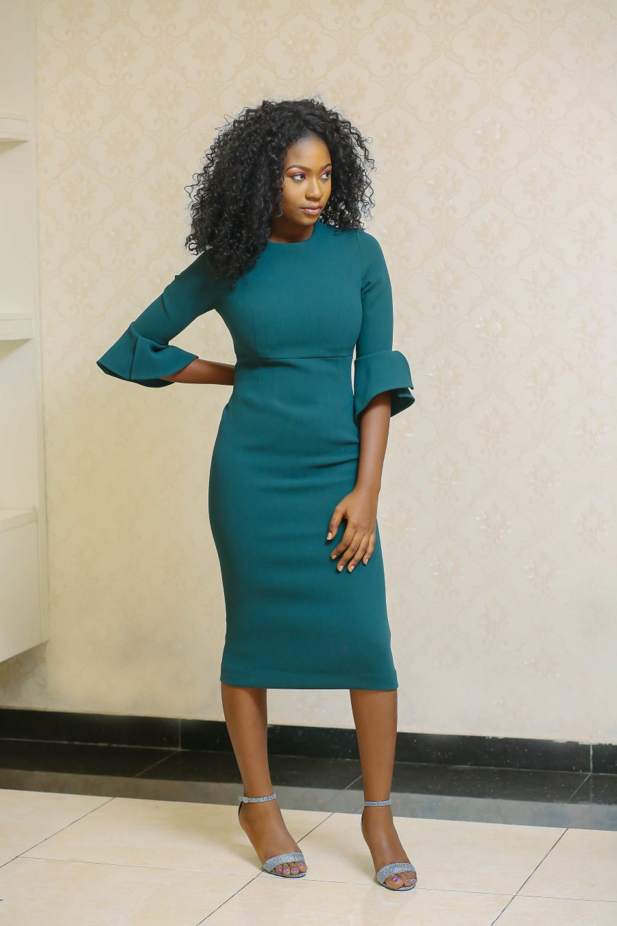 Amina Emerald Midi Dress 3