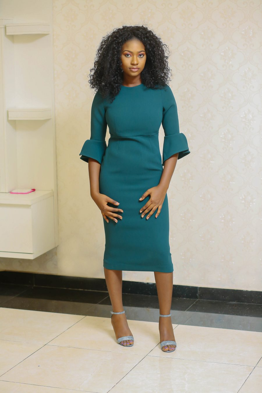 Amina Emerald Midi Dress
