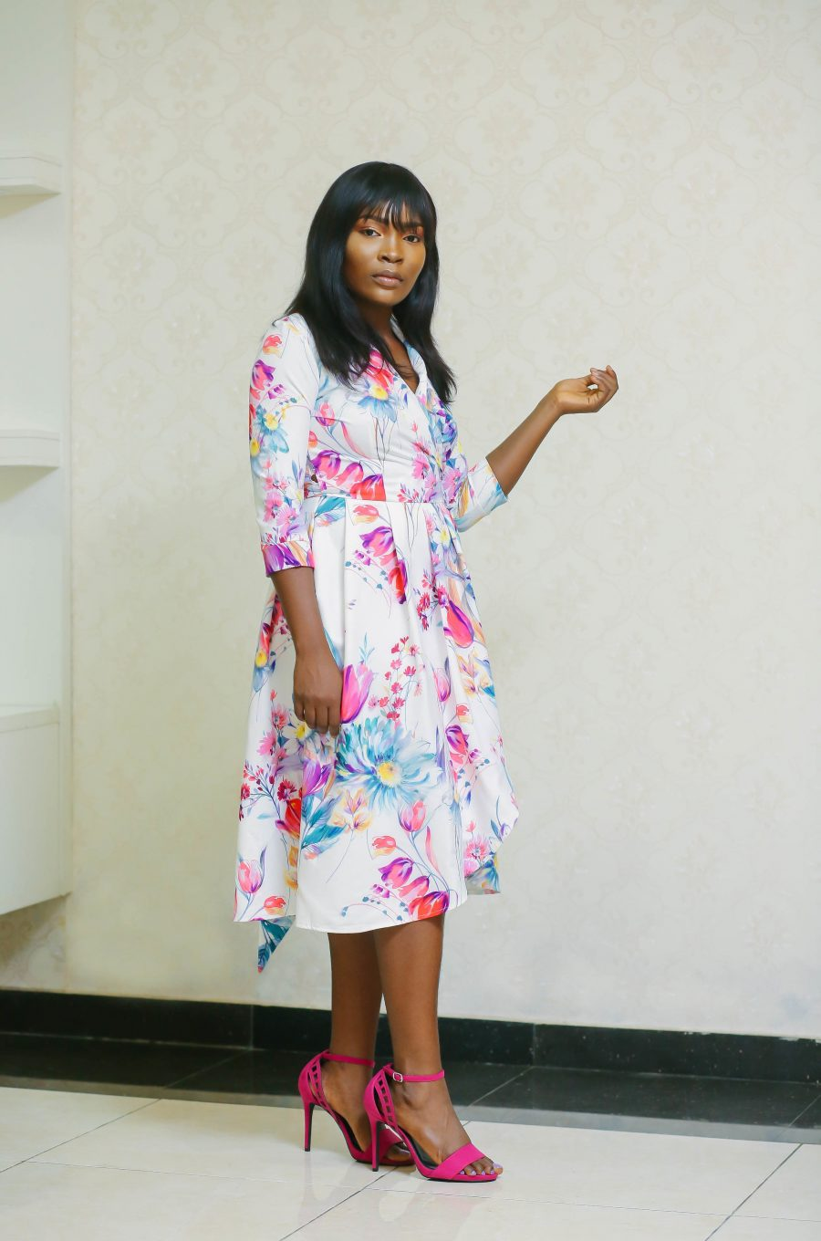 Belted Floral Dress with Side Pockets 2