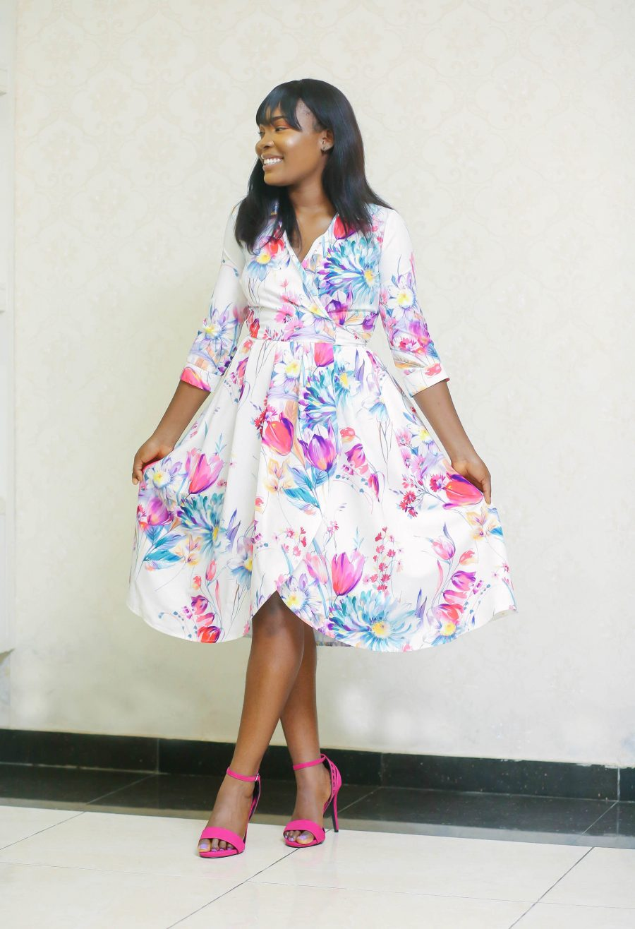 Belted Floral Dress with Side Pockets