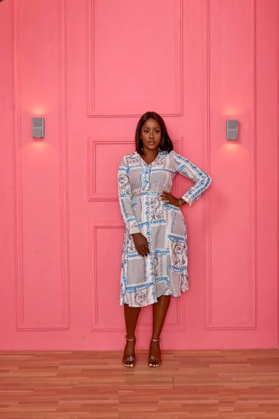 BLUE VINTAGE CHAIN SHIRT DRESS